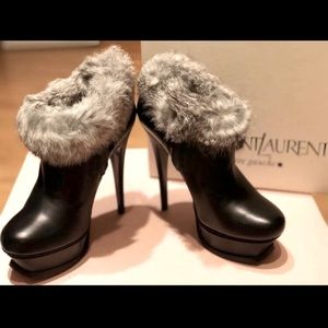 YSL Leather & Fur Ankle Boots Size 36